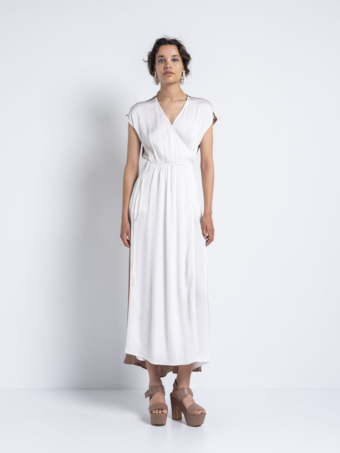 IOANNA KOURBELA Gentle Fluidity – Crossed Dress (White and Clay)