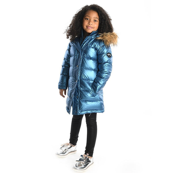 Appaman Long Down Coat Metallic Blue