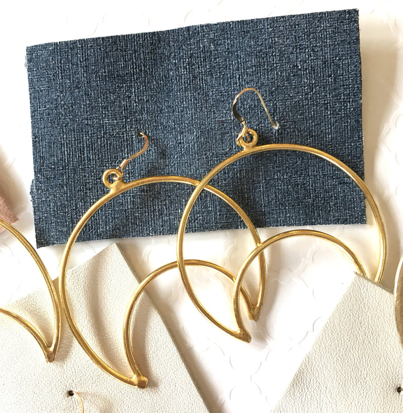 Gold Crescent Earrings