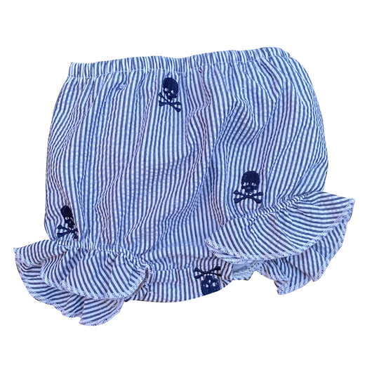 Navy Seersucker Baby Bloomers with Navy Embroidered Pirate Skulls