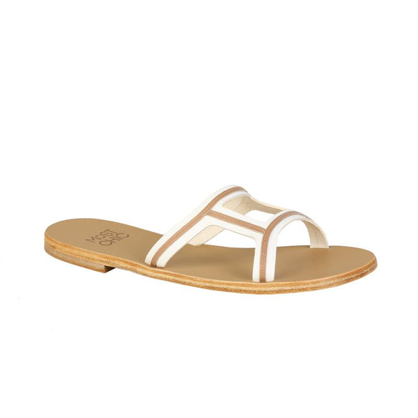 MOST CHIC New Lotus white with dessert leather sandals