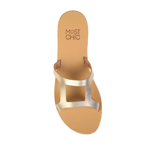 MOST CHIC Lotus metallic leather sandals