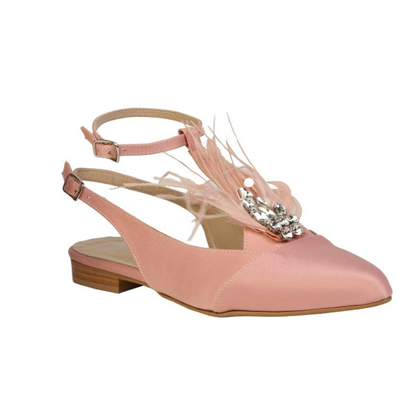 PARGIANA Pink Flats with feathers