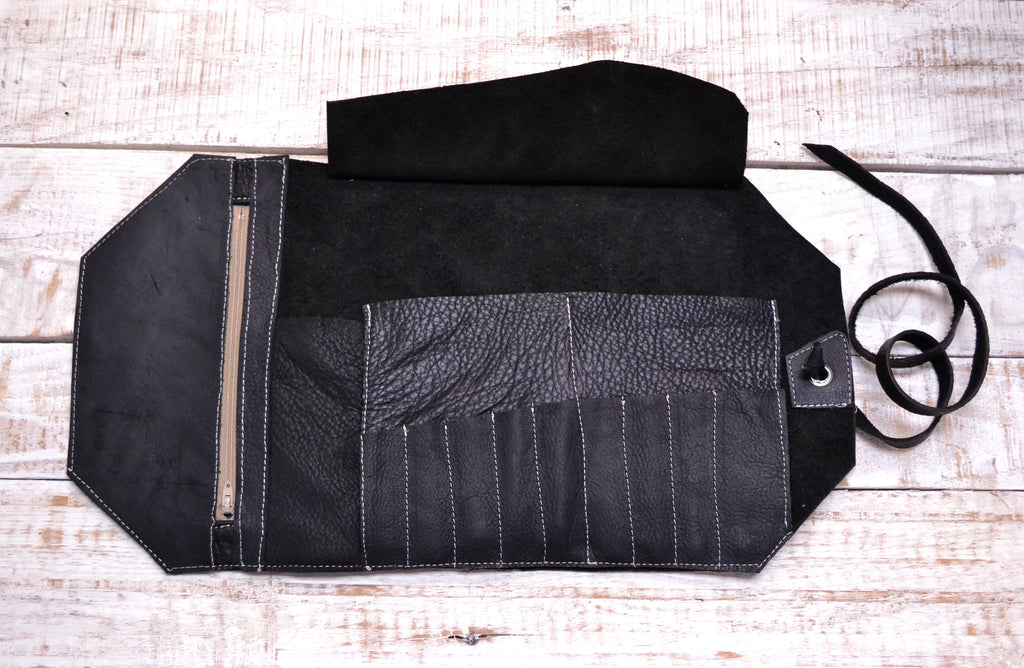 Leather Artist Roll with Zipper Pouch, Personalized Leather Pencil Roll - OakPo Paper Co.