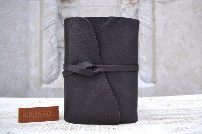 5.5x8 Recycled Handmade Dark Brown Leather Journal - OakPo Paper Co.