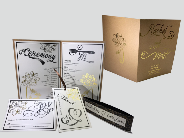 Kraft Paper Romance Foil Wedding Invitation - OakPo Paper Co.