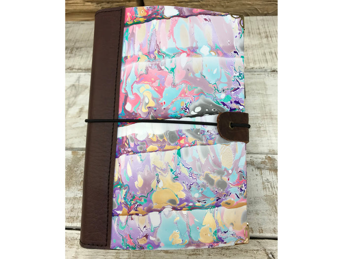 handmade marbled journal with 3 refillable journal, marbled notebooks, - OakPo Paper Co.