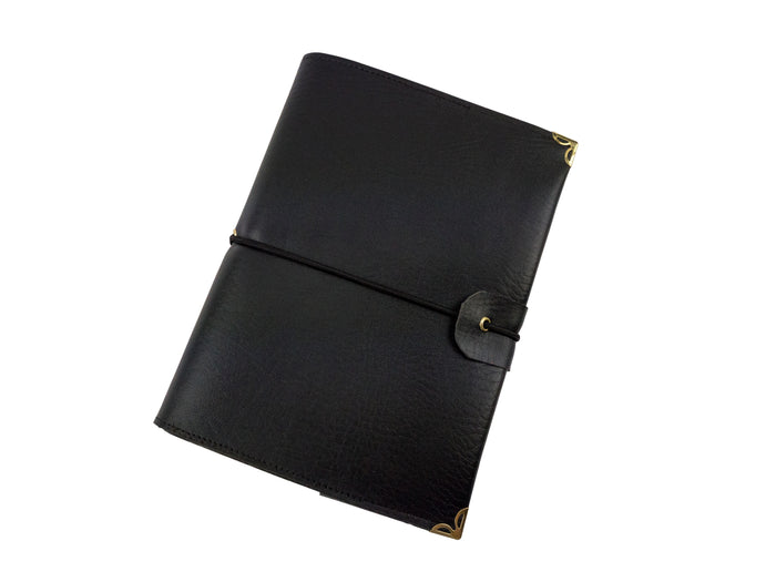Black Spiral Bound Faux Leather Notebook - OakPo Paper Co.