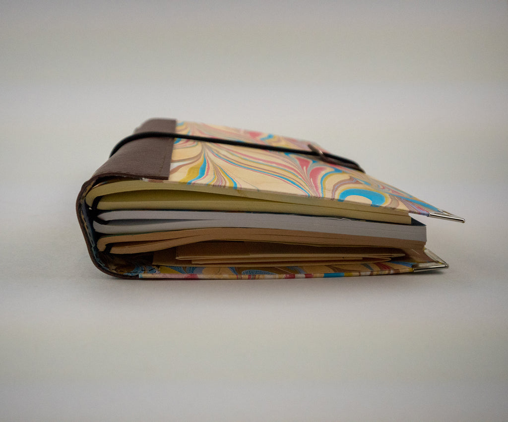 5.5''x8.25'' Hand-marbled traveler's notebook, Journal - OakPo Paper Co.