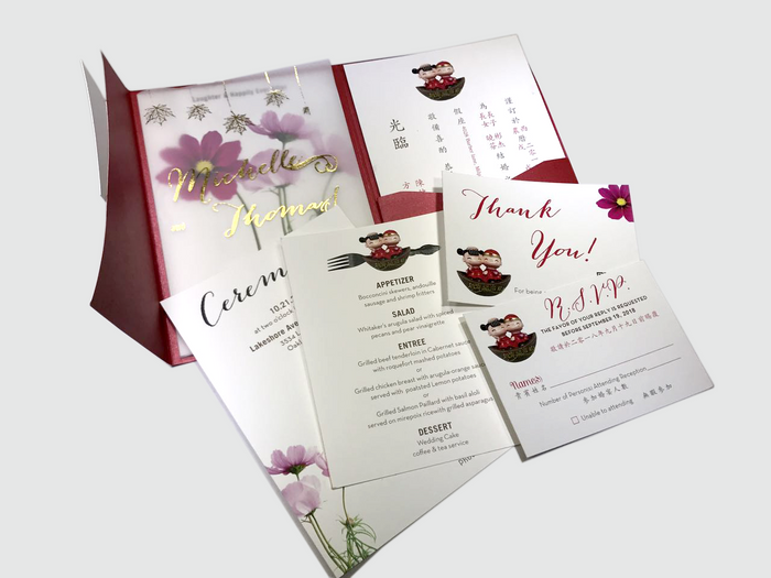 Cosmos Flower with Lovely Dolls Wedding  Invitation Card - # C ( 07 )
