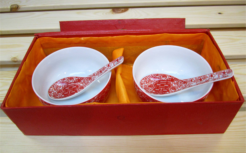 Double happiness bowl set in box