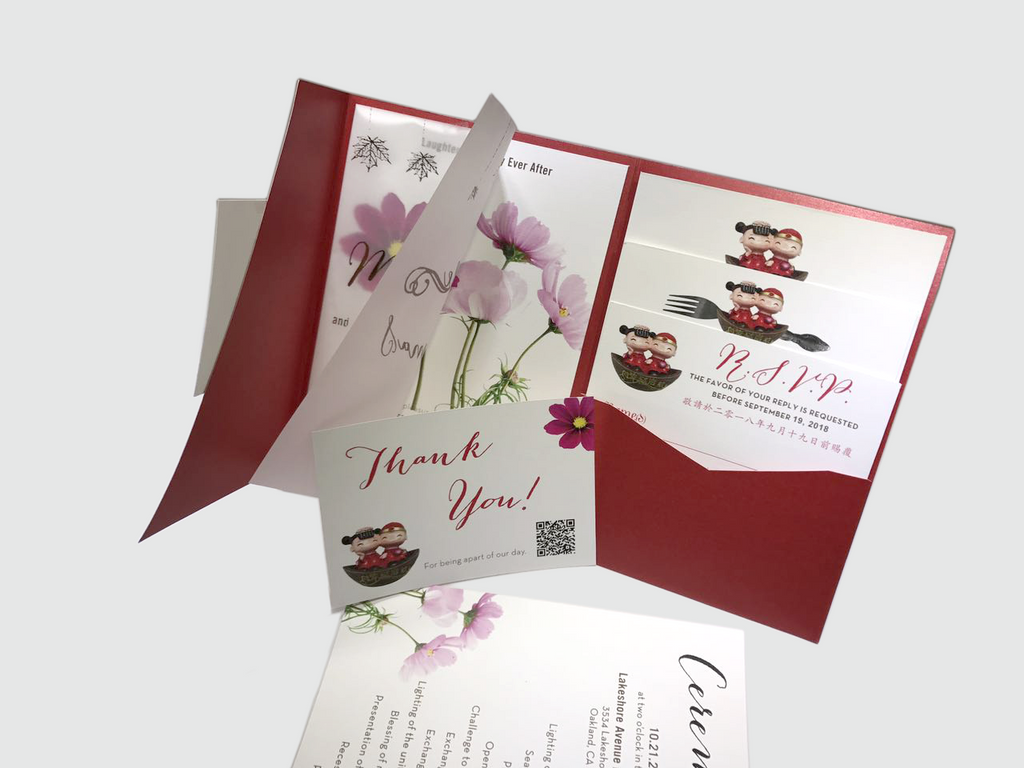 Cosmos Flower with Lovely Dolls Wedding Invitation Card - # C ( 07 ...