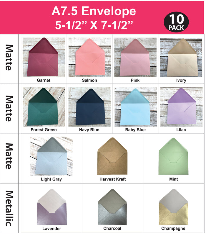 10 pcs  5.5''x 7.5'' Envelopes - OakPo Paper Co.