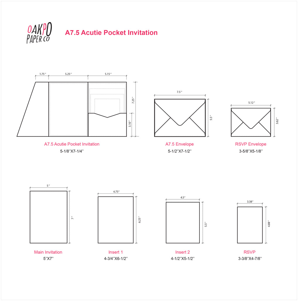 ONYX-- ACUTIE TRIFOLD POCKET INVITATIONS (5 1/8'' × 7 1/4'') - OakPo Paper Co.