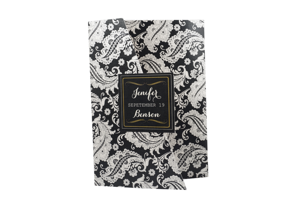 Floral Chalkboard Black and White Wedding Invitation Card - # A5   (sold out) - OakPo Paper Co.
