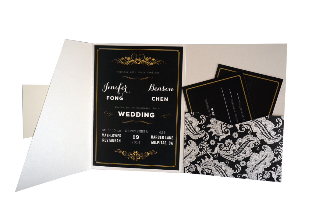 Floral Chalkboard Black and White Wedding Invitation Card - # A5