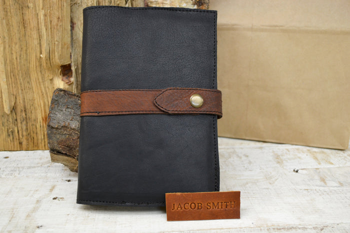 Leather Pocket Journal, kraft insert notebook - OakPo Paper Co.