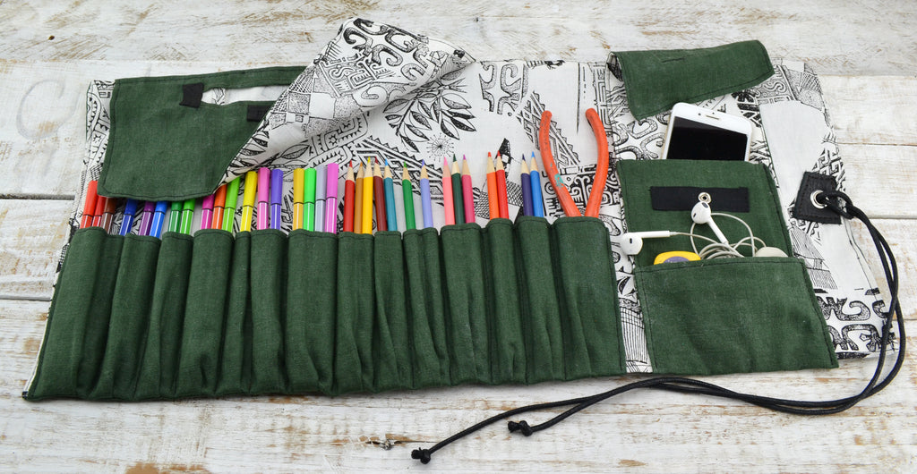 Green Artist Roll, Pencil Holder, Pencil Roll Case, Personalized Pencil Roll - OakPo Paper Co.
