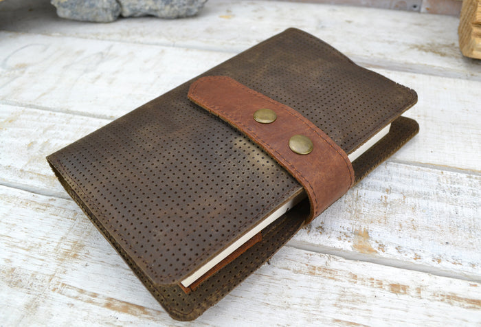 6''x9'' Leather Journal, Blank insert notebook and one book mark - OakPo Paper Co.