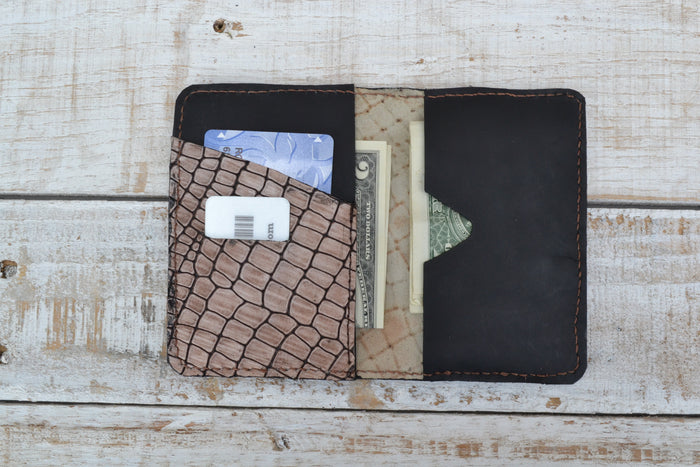 Leather card holder, Personalized Leather card case - OakPo Paper Co.