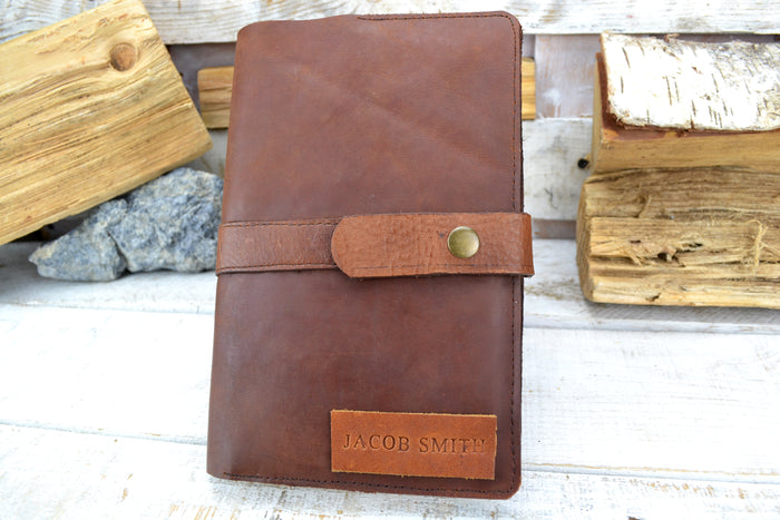 Brown Leather Journal, Blank insert notebook and one book mark, Personalized leather journal - OakPo Paper Co.