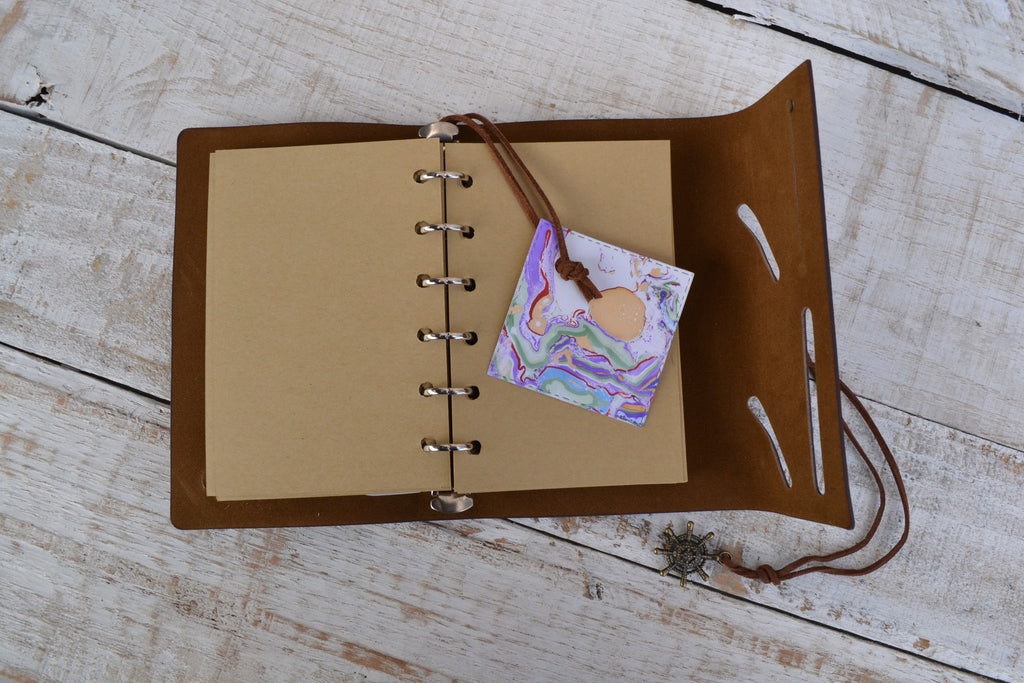 Binder Journal, Kraft insert notebook with marbled tag, - OakPo Paper Co.