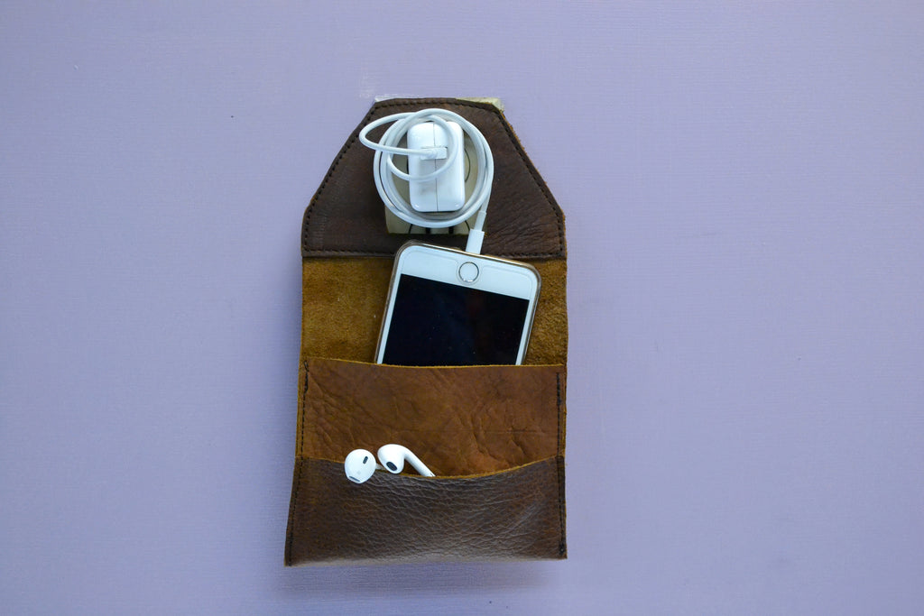 Leather Wall charger holder - OakPo Paper Co.