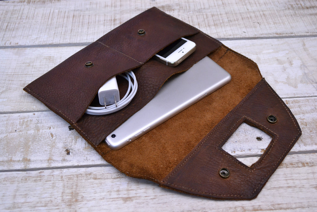Recycled Leather ipad/ phone Charger Holder - OakPo Paper Co.