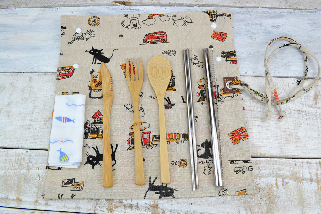 Travel Cutlery Set H, Wrap with Utensil. Personalized Cutlery Set. Choose Your Set - OakPo Paper Co.