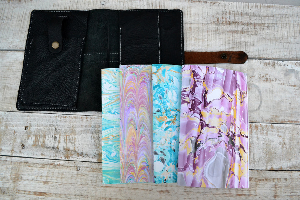 Leather Pocket Journal,  4 marbled cover notebooks - OakPo Paper Co.