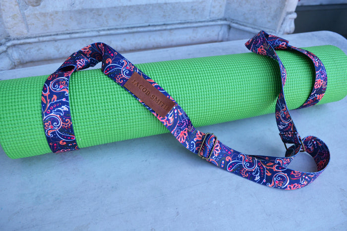 Yoga Mat Strap, Adjustable Yoga Mat Carrier with adjustable bronze buckle, Personalized yoga mat carrier - OakPo Paper Co.