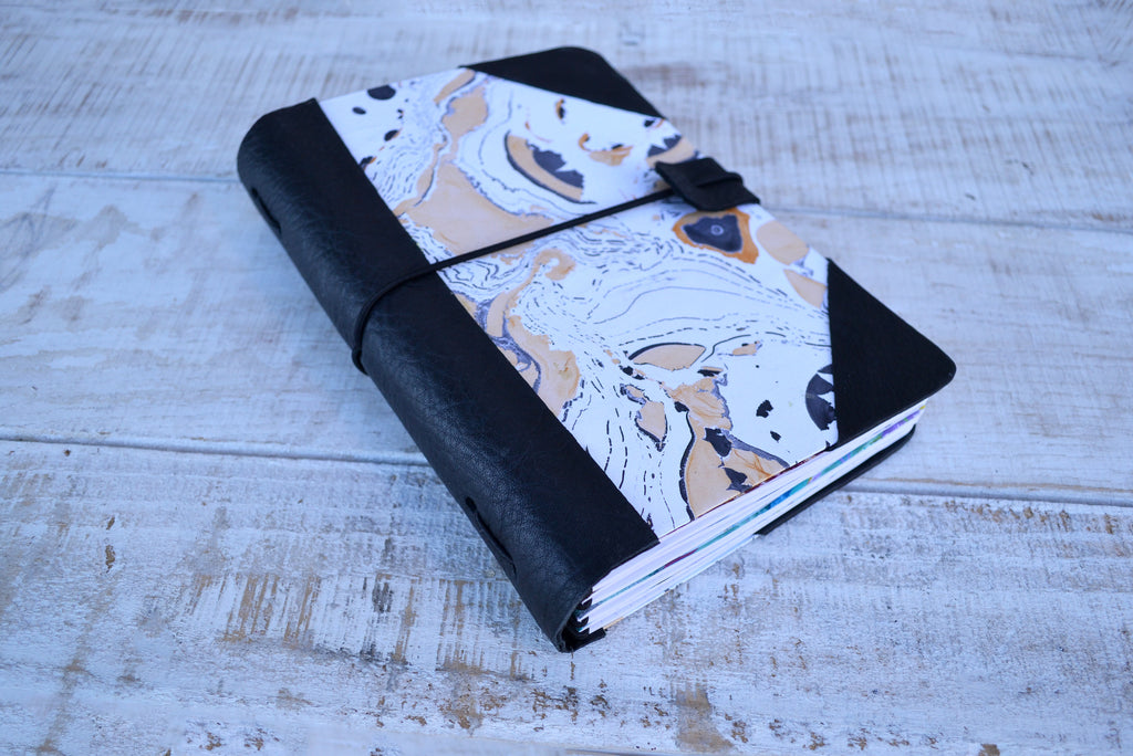 Hand Marbled Traveler's notebook with 4 refillable notebooks - OakPo Paper Co.