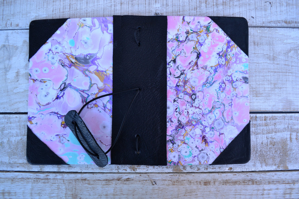 4 refillable marbled notebooks and leather bound journal - OakPo Paper Co.