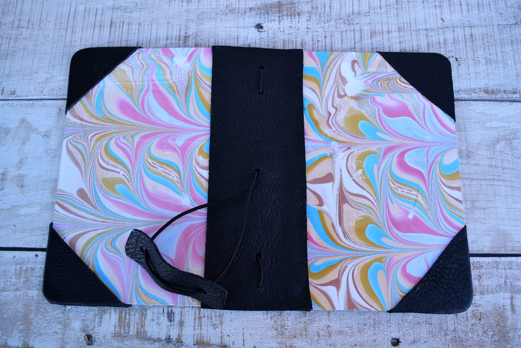 4 marbled notebooks inside and leather bound journal - OakPo Paper Co.
