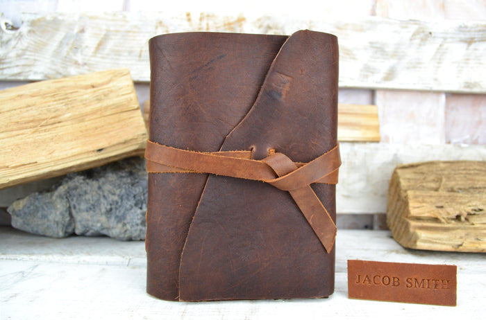 Leather Journal (5.5''x7.5''), Personalized Leather Journal - OakPo Paper Co.