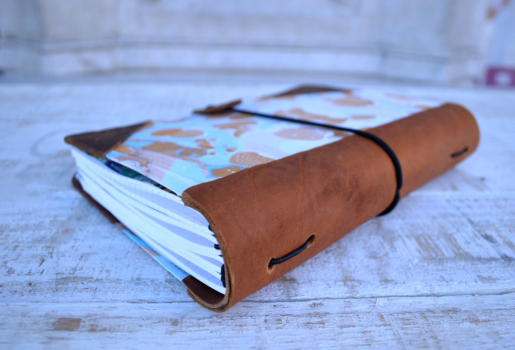 Leather bound Journal, Marbled journal - OakPo Paper Co.