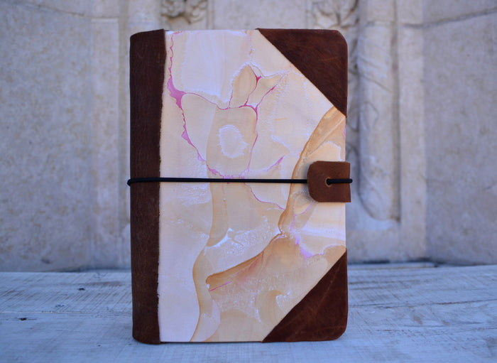4 Hand-marbled notebooks with distressed leather bound - OakPo Paper Co.