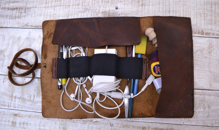 leather roll, distressed leather pencil case - OakPo Paper Co.