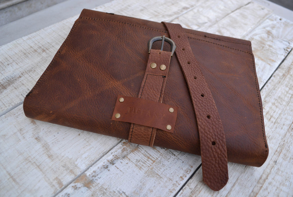 Leather Sketchbook, Trifold Personalized Sketchbook - OakPo Paper Co.