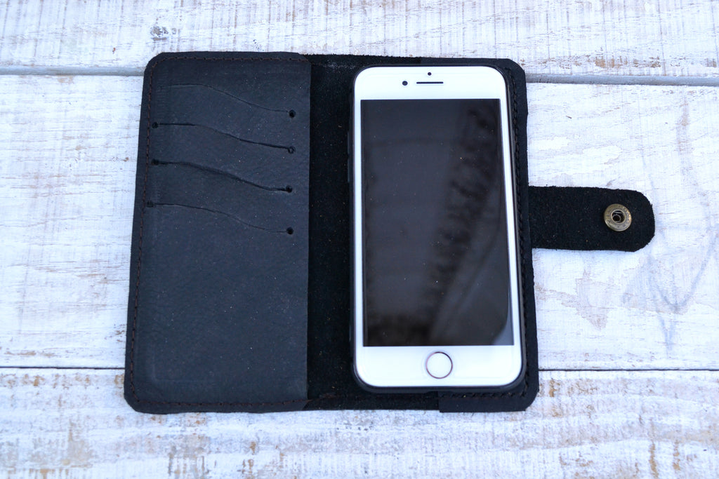 Black distressed Leather iPhone 8/7 Case, Wallet Case - OakPo Paper Co.