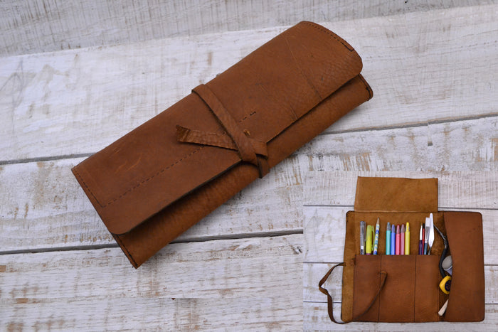 Brown leather roll, leather pencil roll, leather tool roll case - OakPo Paper Co.