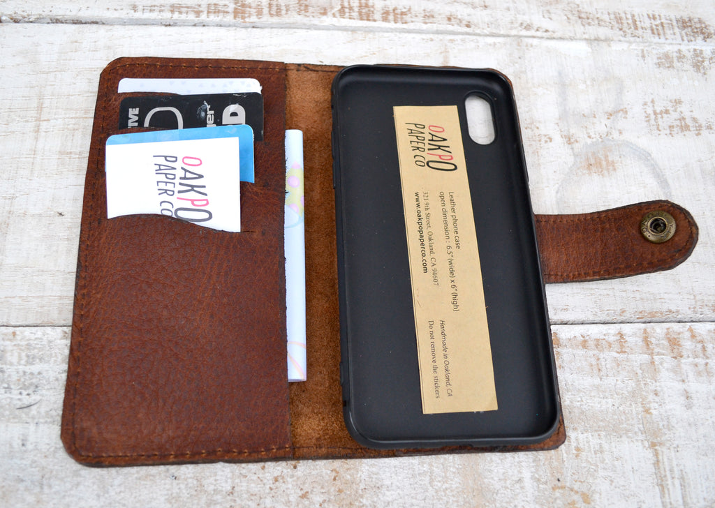 iPhone X Wallet Case, iPhone Case, Distressed Leather Case - OakPo Paper Co.