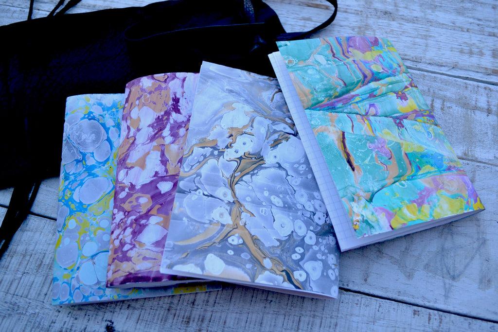 5x7 Leather Journal, Hand-Marbled cover notebooks, Black Distressed Leather Notebook. Pocket Leather Journal, Personalized - OakPo Paper Co.