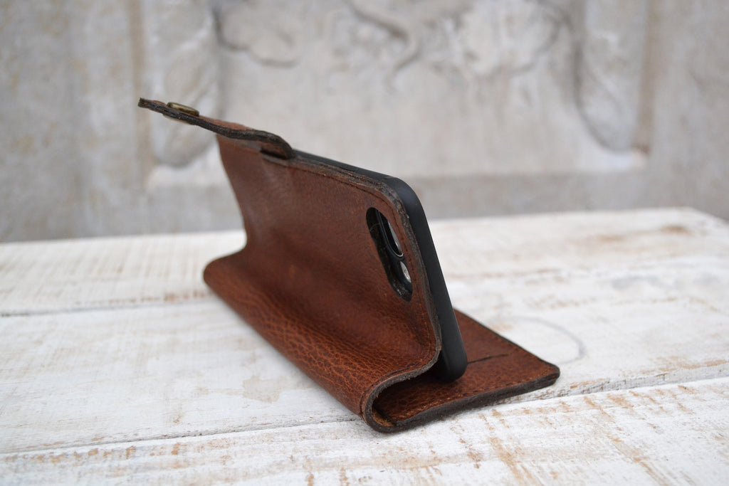 iPhone 8 Plus / 7 plus Wallet Case, iPhone Case, iPhone Cover, Distressed Leather Case - OakPo Paper Co.