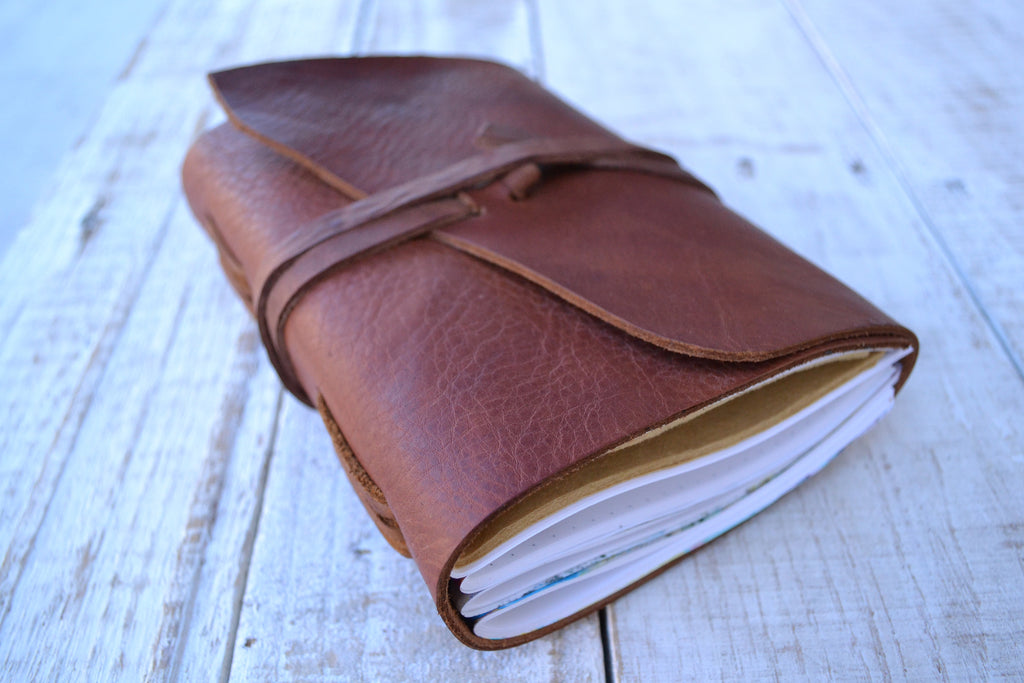 5x7 Brown Leather Journal, Hand-Marbled cover notebooks, Distressed Leather Notebook. Personalized journal - OakPo Paper Co.