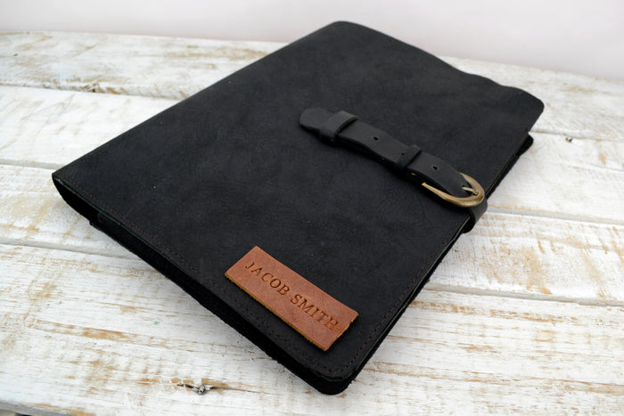 Leather folder, Leather portfolio, Notepad holder, Leather Journal Case, Personalized Leather Notebook Holder - OakPo Paper Co.