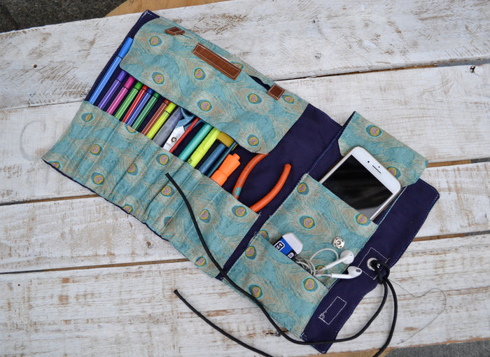 Pencil Roll Case, Personalized artist roll - OakPo Paper Co.