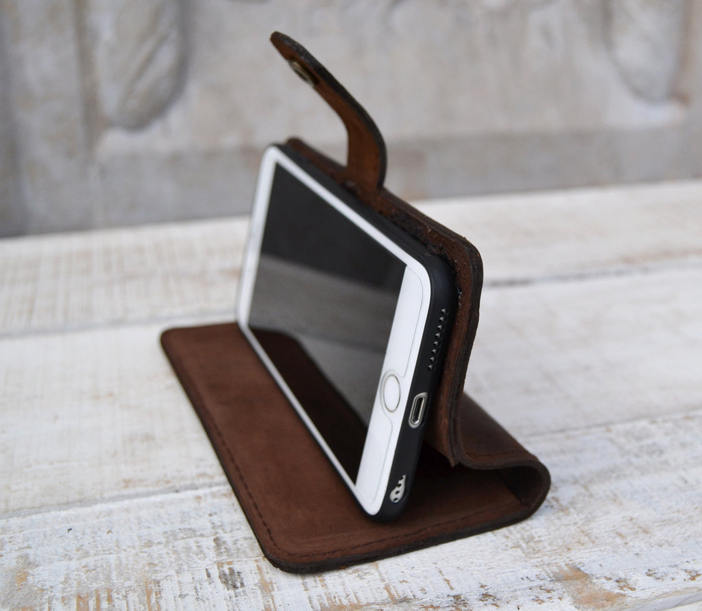 Dark Brown leather iPhone 6 plus Wallet Case - OakPo Paper Co.