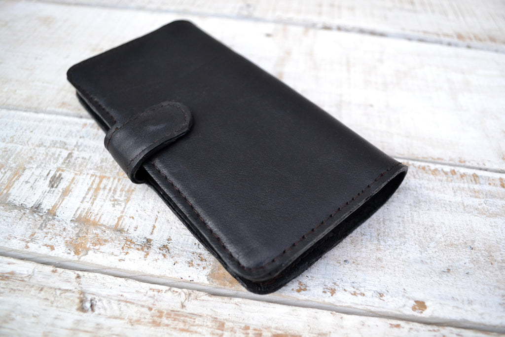 Black leather iPhone XS Max wallet case - OakPo Paper Co.