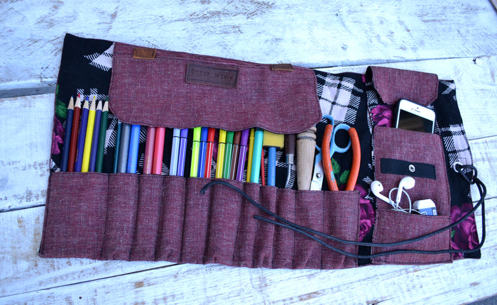 Artist Roll, Pencil Roll Case, Pencil Holder, Paint Brush Roll, Personalized Pencil Roll - OakPo Paper Co.